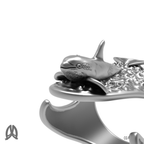 Orca Ring Closeup View.jpg Download STL file Orca Whale Thumb Ring • Template to 3D print, Double_Alfa_Jewelry