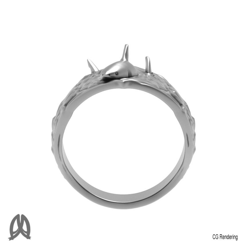 Great White Ring Front View.jpg Download STL file Greatwhite Thumb Ring • 3D print model, Double_Alfa_Jewelry