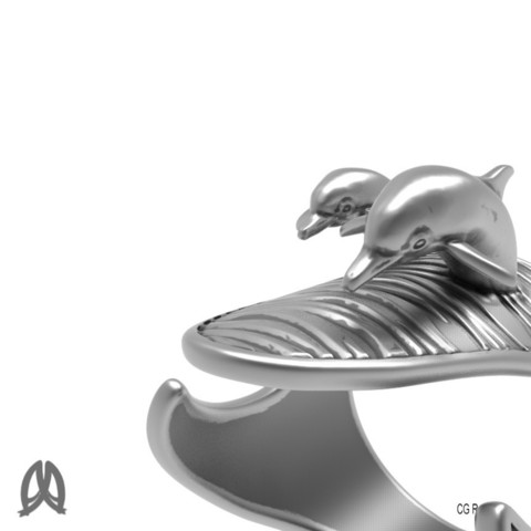Dolphin Ring Closeup View.jpg Download STL file Dolphins Thumb Ring • Design to 3D print, Double_Alfa_Jewelry