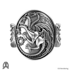 Descargar STL gratis Juego de Tronos - Anillo Targaryen, Double_Alfa_Jewelry