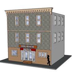 Download 3D printing designs PREMIUM N Scale Rural Town Hotel (#5 of 7 in set), MFouillard