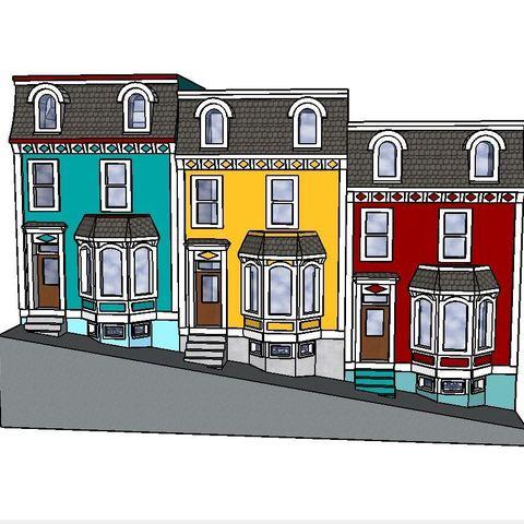 STL file PREMIUM N Scale Newfoundland Row Houses, MFouillard