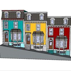 Modèle 3D PREMIUM N Scale Newfoundland Row Houses (maisons en rangée de Terre-Neuve), MFouillard