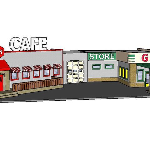 STL file PREMIUM N Scale Rural Town Gas Station & Cafe (#1 of 7 in set), MFouillard