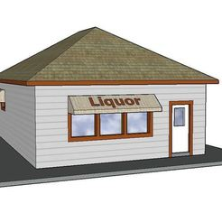 3D printing model PREMIUM N Scale Rural Town Liquor Store (#4 of 7 in set), MFouillard