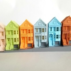 2019-04-07 13.33.41-1.jpg Download STL file PREMIUM N Scale Painted Ladies of San Francisco • Object to 3D print, MFouillard