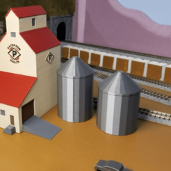 Free 3d printer designs Grain Silos (N-Scale), MFouillard