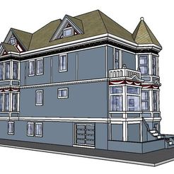 3D printer files PREMIUM N Scale San Francisco Victorian Painted Lady - Kavanaugh House, MFouillard