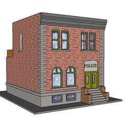 STL PREMIUM N Scale Rural Town Police Station (#6 of 7 in set), MFouillard