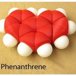 Free Space-filling molecular models: Phenanthrene adventure pack STL file, harfigger