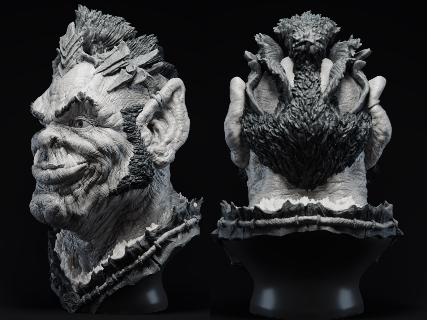 Thingiverse_Orc_Angle_Rear_01.jpg Télécharger fichier STL gratuit Le chef orc Nakhbruh • Objet imprimable en 3D, bendansie
