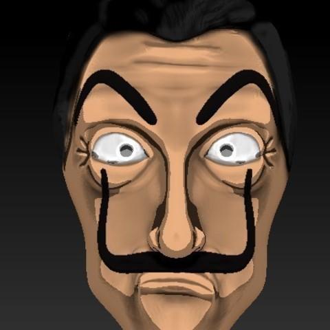 Imprimir en 3D Dali la casa de papel mascara , RolandH
