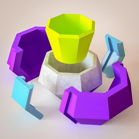 STL file Vase mold - Vase Octa Concrete, Ocean21