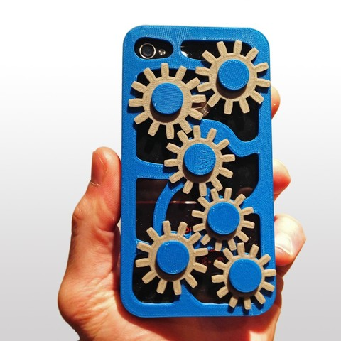 3D print files Gear Cogs Mobile Iphone Cover Case 5 5s, Custom3DPrinting