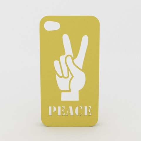 Peace-Hand-Iphone-Case.jpg Download STL file Peace Hand Iphone Case 6 6s • 3D printer template, Custom3DPrinting