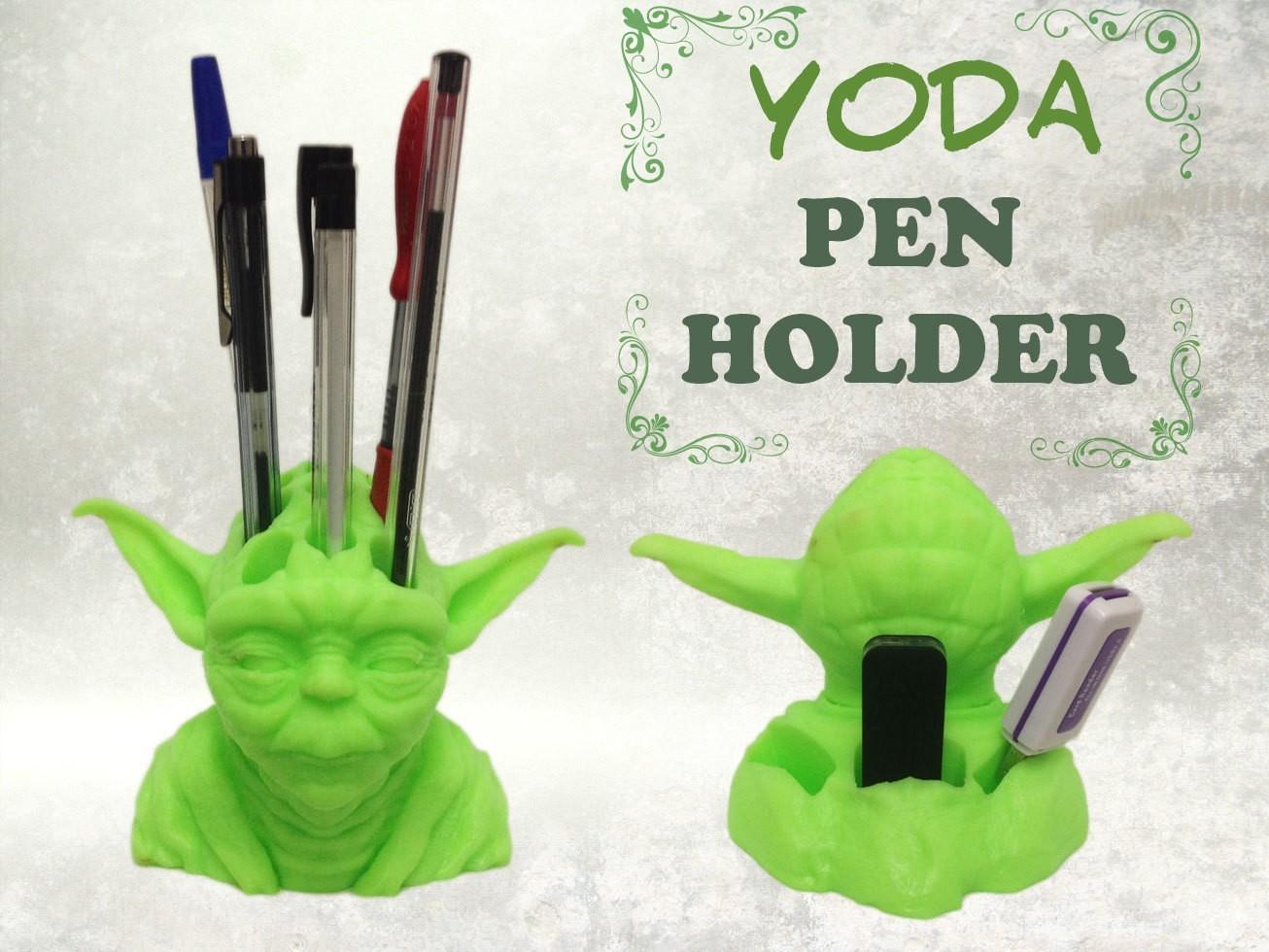 yoda-pen-holder-fb.jpg Download STL file Yoda Pen Holder • 3D printable object, Custom3DPrinting