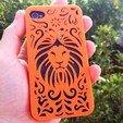 3D printer files Tribal Lion Floral Iphone Case 5 5s, Custom3DPrinting