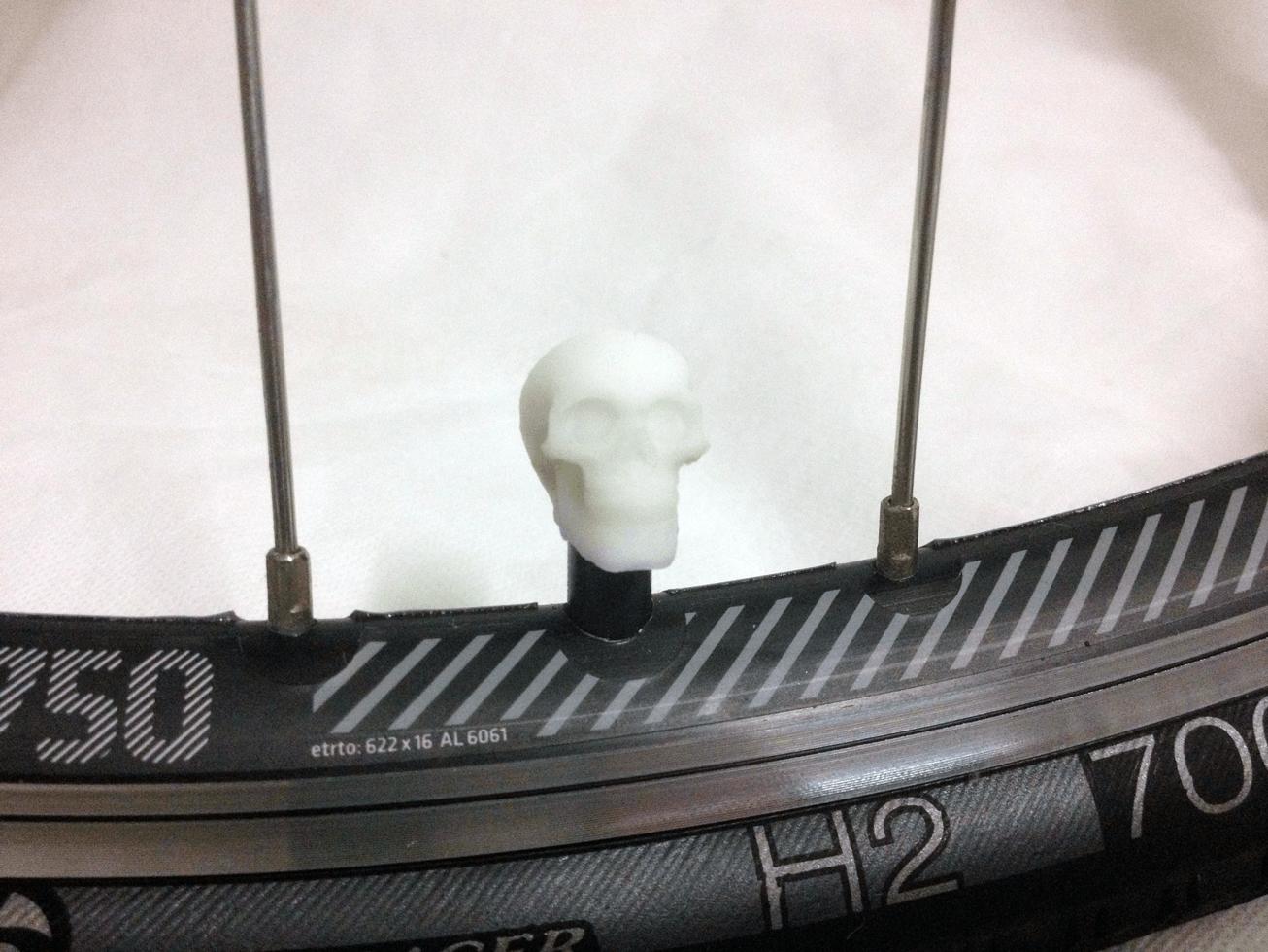 bike-skull-white.png Download STL file Skull Head Car Truck Bike Van Tire Tyre Wheel Valve Stem Caps Cover • Template to 3D print, Custom3DPrinting