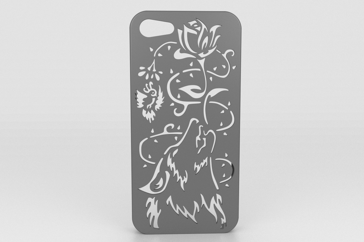 Wolf Iphone Case 5.jpg Download STL file Howling Wolf Iphone 5 5s • 3D printer object, Custom3DPrinting