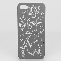 STL files Howling Wolf Iphone 5 5s, Custom3DPrinting