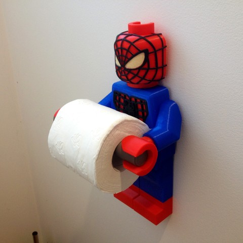 Fichier imprimante 3D Lego Spider Man Toilet Roll Holder Bathroom Decor Hook Hanger, Custom3DPrinting