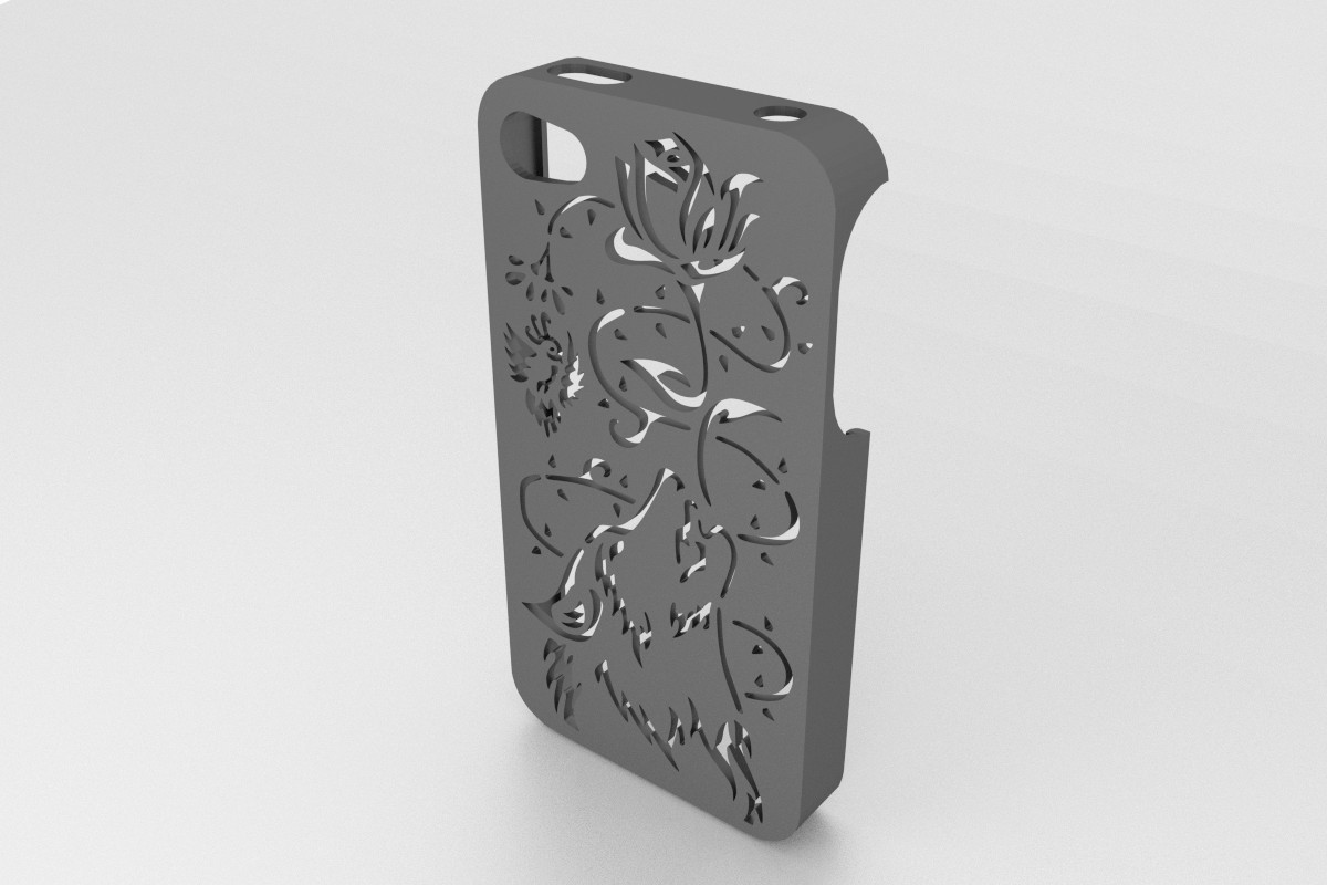 Wolf Iphone Case2.jpg Download STL file Howling Wolf Iphone 5 5s • 3D printer object, Custom3DPrinting