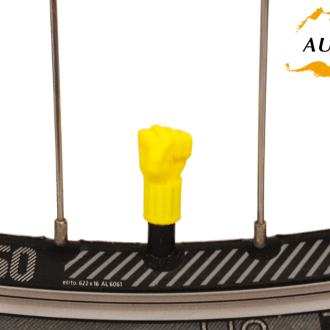 bike-fist-yellow.png Download STL file Fist Hand Car Truck Bike Van Tire Tyre Wheel Valve Stem Caps Cover • 3D printer design, Custom3DPrinting
