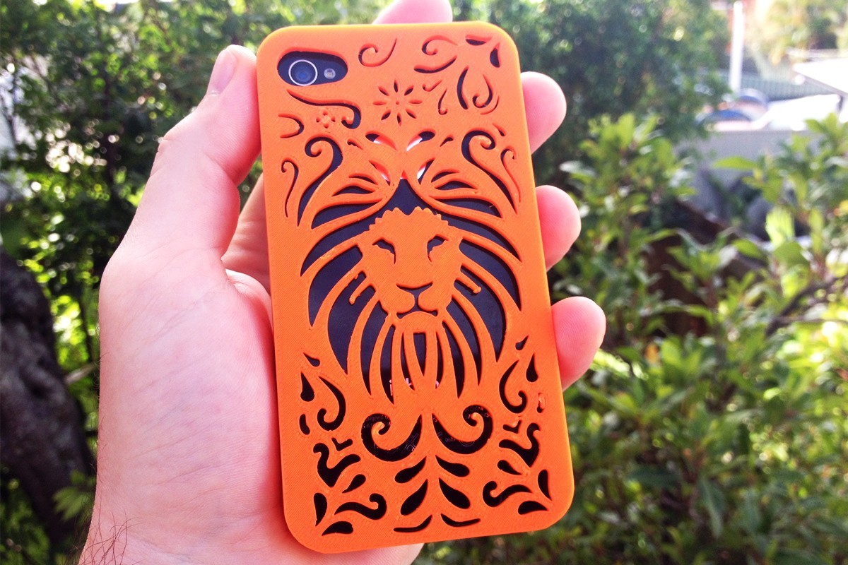 Tribal-Lion-4s.jpg Download STL file Tribal Lion Floral Iphone Case 4 4s • 3D printable object, Custom3DPrinting