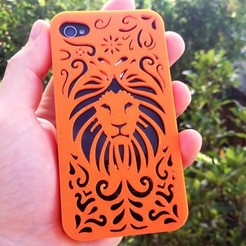 Download 3D printing models Tribal Lion Floral Iphone Case 4 4s, Custom3DPrinting