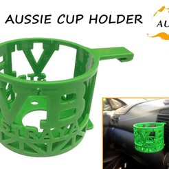 3D print files Aussie Car Cup Holder, Custom3DPrinting