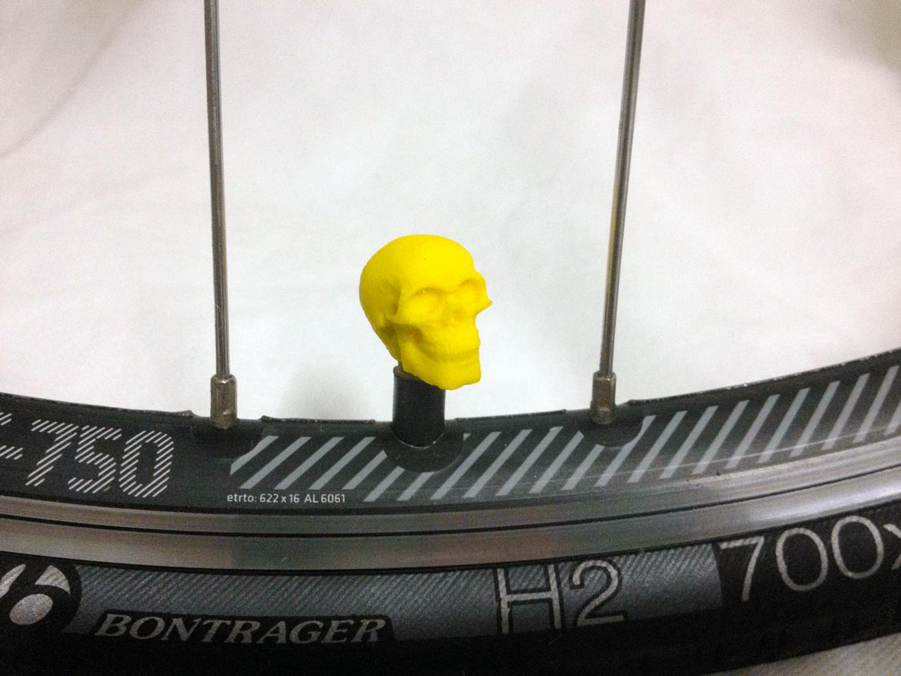 bike-skull-yellow.png Download STL file Skull Head Car Truck Bike Van Tire Tyre Wheel Valve Stem Caps Cover • Template to 3D print, Custom3DPrinting