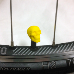 bike-skull-yellow.png Download STL file Skull Head Car Truck Bike Van Tire Tyre Wheel Valve Stem Caps Cover • Template to 3D print, Custom3DPrinting