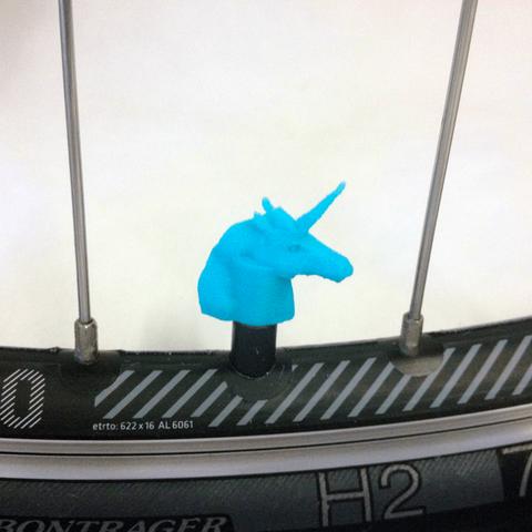 bike-unicorn-blue.png Download STL file Unicorn Car Truck Bike Bicycle Van Tire Tyre Wheel Valve Stem Caps Cover • Template to 3D print, Custom3DPrinting