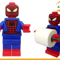 Lego Spider Man Toilet Roll Holder Bathroom Decor Hook Hanger STL file, Custom3DPrinting
