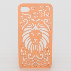Download 3D printing templates Tribal Lion Floral Iphone Case 5 5s, Custom3DPrinting