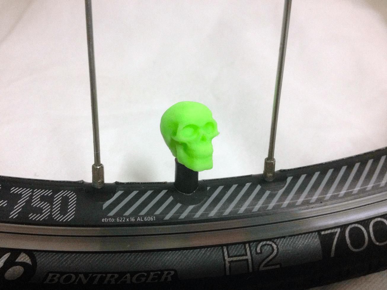 bike-skull-green.png Download STL file Skull Head Car Truck Bike Van Tire Tyre Wheel Valve Stem Caps Cover • Template to 3D print, Custom3DPrinting