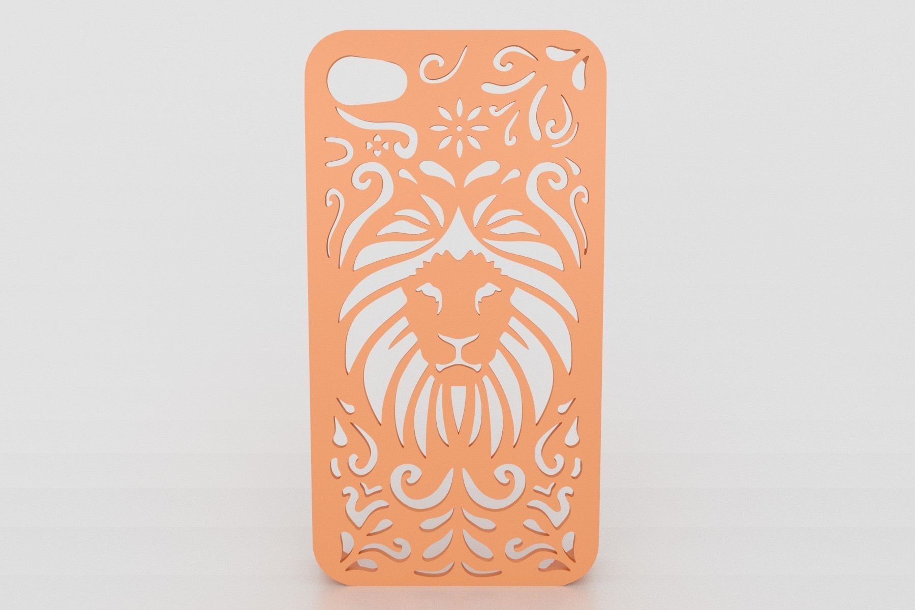 tribal lion-Iphone-case-5 render.jpg Download STL file Tribal Lion Floral Iphone Case 6 6s • 3D printing model, Custom3DPrinting