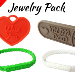 STL Jewelry Pack - Bracelet Wristband Pendant Military Dog Tag Heart, Custom3DPrinting
