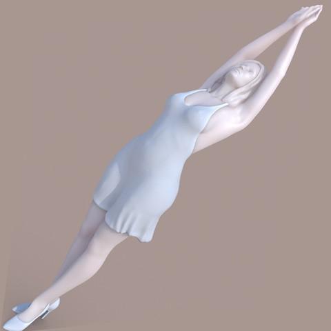 W_longC01.jpg Download STL file Lady streching • 3D printable template, krys-art