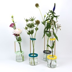 Download STL files Stem vase / Vase to be fixed on a glass pot, Jonathan-AtelierVOUS