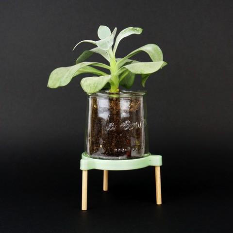 stl support tr pied pour accueillir une plante dans un pot en verre cults. Black Bedroom Furniture Sets. Home Design Ideas