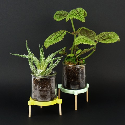 Shooting Pot coupelle - 2018 05 09 - 3.jpg Download STL file Tripod support for receiving a plant in a glass pot • 3D printable model, Jonathan-AtelierVOUS
