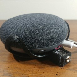 Free Google Home Mini Wall Mount With 1/4 Inch Headphone Jack Mod STL file, MakeItWork