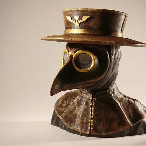 PD_final_1.png Download free STL file Plague Doctor bust • 3D print object, sandpiper