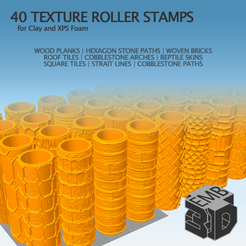 XPS3.png Download STL file 40 Clay and XPS Foam Texture Roller Stamp • 3D printer object, emboyd