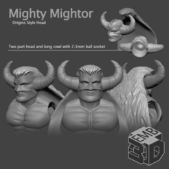 MightorHead.png Download STL file Mighty Mightor Head for Origins and Vintage Style Figures • Object to 3D print, emboyd