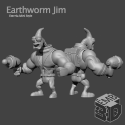 EarthwormJim.png Download STL file Earthworm Jim Eternia Mini's Style • 3D printer model, emboyd