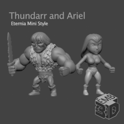 ArielThundarr2.png Download STL file Thundarr and Ariel (2 Pack) Eternia Mini's Style • 3D print template, emboyd