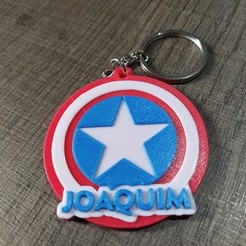 Download STL file  Captain America key chain personalized for 3d printing, renatoknob
