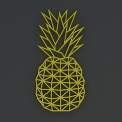 Download STL ORIGAMI PINEAPPLE WALL SCULPTURE 2D, renatoknob